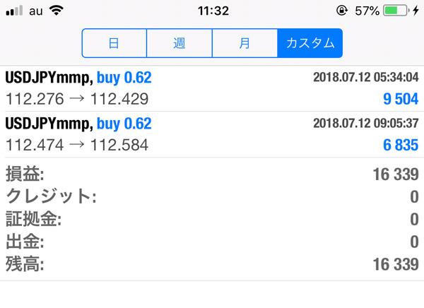 2018-7-12FX自動売買履歴