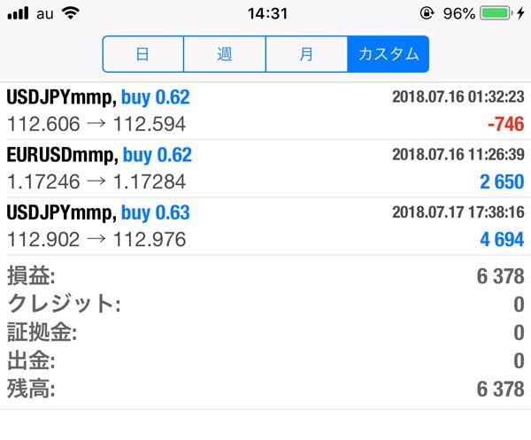 2018-7-17FX自動売買履歴