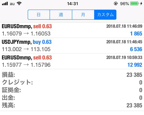 2018-7-19FX自動売買履歴