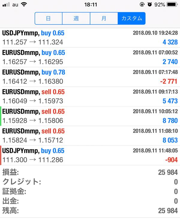 2018-9-11日FX自動売買履歴