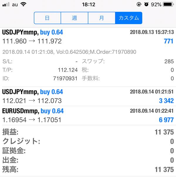 2018-9-14日FX自動売買履歴