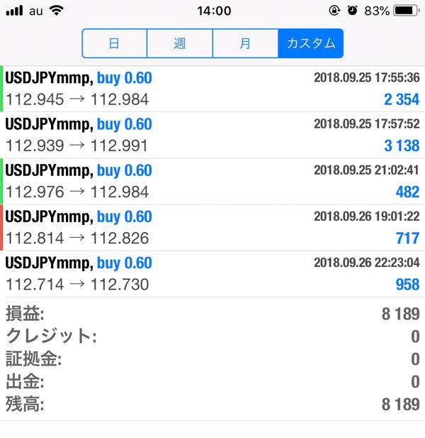 2018-9-26FX自動売買履歴
